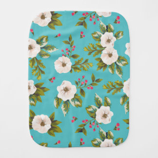 White flowers painting on turquoise background burp cloth