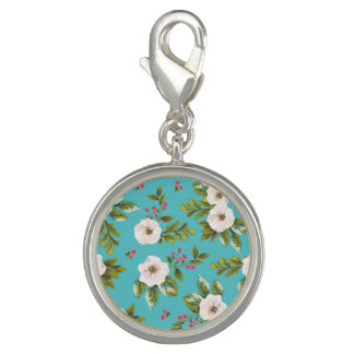 White flowers painting on turquoise background charm