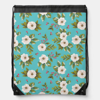 White flowers painting on turquoise background drawstring bag