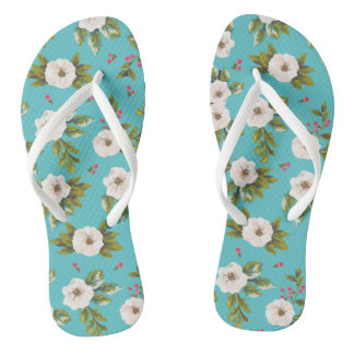 White flowers painting on turquoise background flip flops