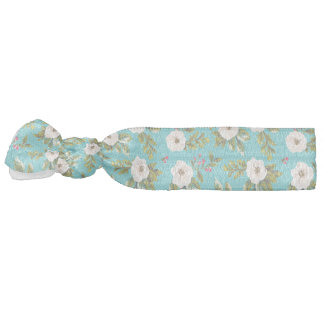 White flowers painting on turquoise background hair ties