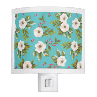 White flowers painting on turquoise background night light