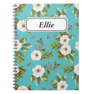 White flowers painting on turquoise background notebooks