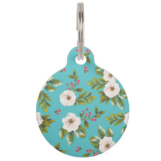 White flowers painting on turquoise background pet ID tag