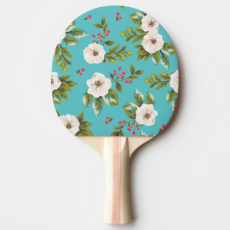 White flowers painting on turquoise background ping pong paddle