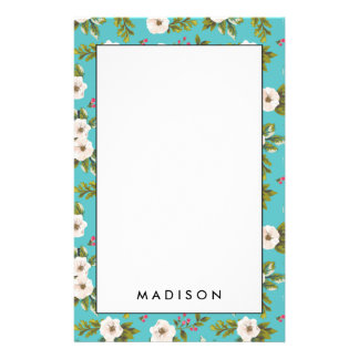 White flowers painting on turquoise background stationery