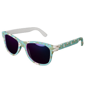 White flowers painting on turquoise background sunglasses