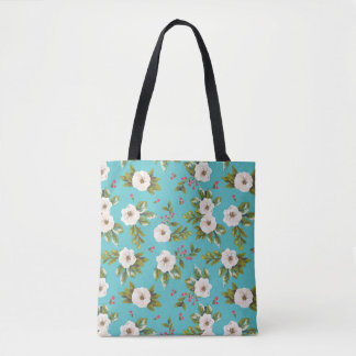 White flowers painting on turquoise background tote bag