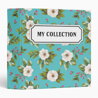 White flowers painting on turquoise background vinyl binders