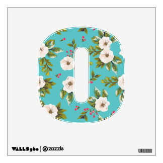 White flowers painting on turquoise background wall sticker