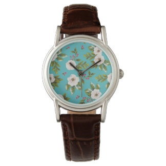 White flowers painting on turquoise background watch