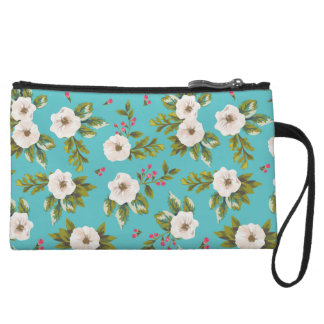 White flowers painting on turquoise background wristlet