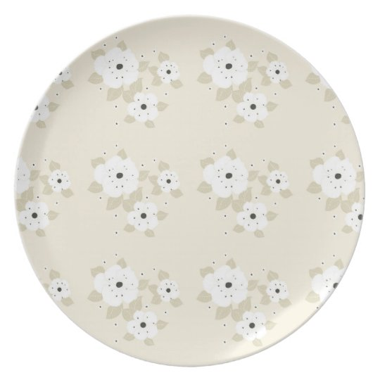 White Flowers Pattern Plate