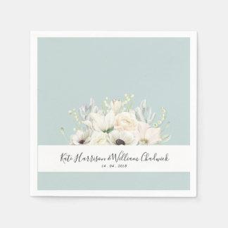 White Flowers |Personalized Wedding Paper Napkin