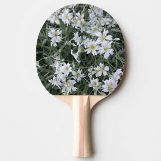 White flowers Ping-Pong paddle
