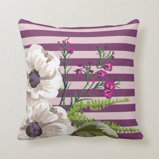 White Flowers Plum Stripes Throw Pillow