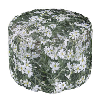 White flowers pouf