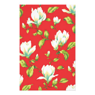 white flowers red backgroung stationery design