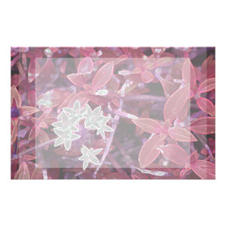 white flowers red leaves sparkle customized stationery