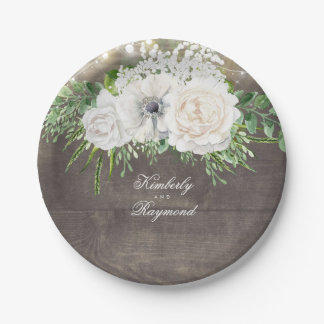 White Flowers Rustic Country Chic Wedding Paper Plate