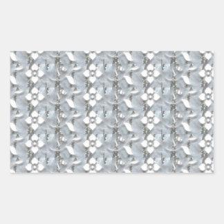 White Flowers Silver String Art NVN171 NavinJOSHI Rectangular Sticker