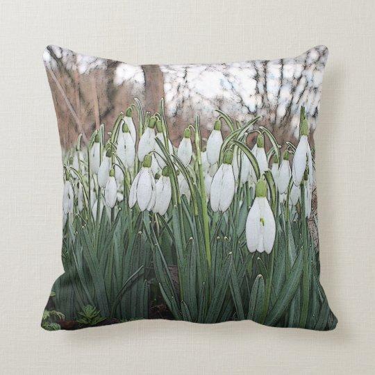 White flowers, spring snowdrops throw pillow