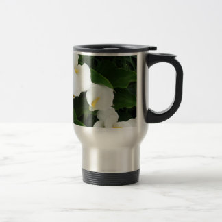 White flowers Stainless Steel  Travel/Commuter Mug