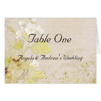 White Flowers Table Seating Card