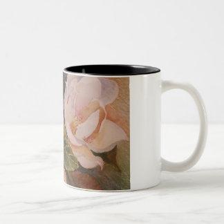 White Flowers Two-Tone Coffee Mug