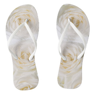 White Flowers Wedding Flip Flops