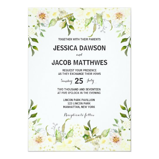 White flowers wedding Invitation