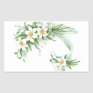 White Flowers With Ribbon Stickers