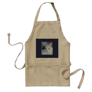 White fluffy cat craft, art or kitchen apron. standard apron