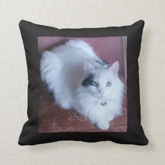 White fluffy cat cuddly cute sofa throw pillow