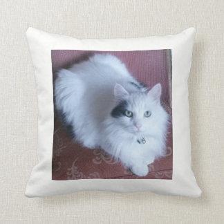 White fluffy cat cuddly feline throw pillow