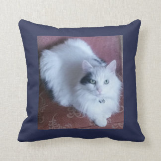 White fluffy cat cuddly long haired cute sofa throw pillow