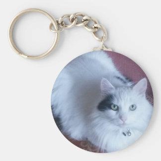 White fluffy cat cute feline friend basic round button keychain