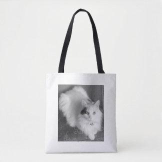 White fluffy cat fun tote bag.