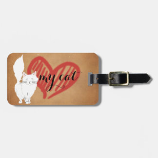 White Fluffy Cat Travel Tag