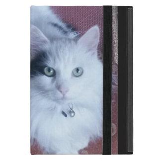 White fluffy cat with attitude cover for iPad mini