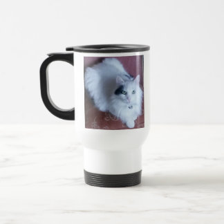 White fluffy cat with attitude travel mug