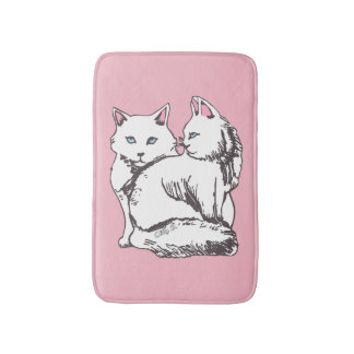 White Fluffy Cats Pink Bath Mat
