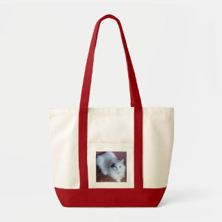 White fluffy pussy cat shopping beach bag. tote bag