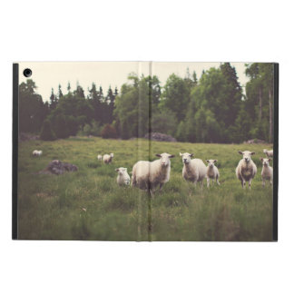 White Fluffy Sheep & Baby Field Trees Rocks Cover For iPad Air
