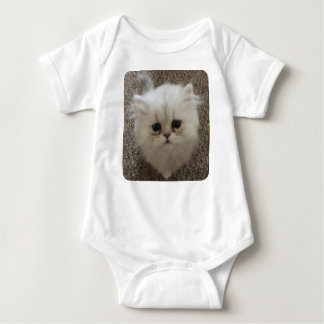 White Fluffy the kitty with sad eyes Baby Bodysuit