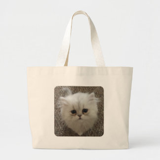 White Fluffy the kitty with sad eyes Large Tote Bag