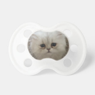 White Fluffy the kitty with sad eyes Pacifier