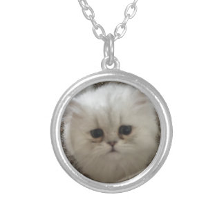 White Fluffy the kitty with sad eyes Silver Plated Necklace