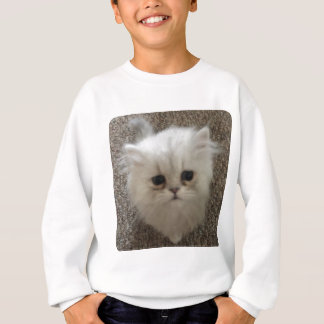 White Fluffy the kitty with sad eyes Sweatshirt