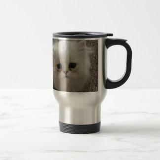 White Fluffy the kitty with sad eyes Travel Mug